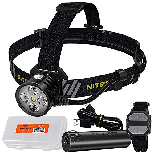 NITECORE HU60 1600 Lumen Focusable and Rechargeable Headlamp with Remote Control and 5000mAh Waterproof Power Pack