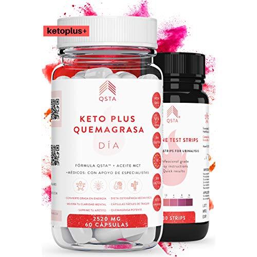 Keto Plus Quemagrasas DIA 2-EN-1 (60 capsulas), Quemagrasas potente para adelgazar, Pastillas para adelgazar muy rapido, Quema grasas QSTA Medical, Dieta Cetogenica Fat Burner, 2520MG +MEDICOS