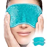 PerfeCore Facial Mask - Get Rid of Puffy Eyes - Migraine Relief, Sleeping, Therapeutic Hot Cold Compress Pack - Gel Beads, Spa Therapy Wrap for Sinus Face Puffiness Headaches (Green + Ice Pack)