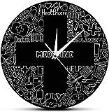 NIUMM Salud Digital Hospital Decoración Cruzada Símbolos médicos Reloj de Pared Latido del corazón Enfermera Doctor Regalo Medicina Droguería Reloj Colgante de Pared Adecuado para Bares de cafetería