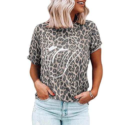 Jersey Informal De Primavera Y Verano para Mujer, Cuello Redondo, Estampado De Leopardo, Estampado De Labios, Camiseta Suelta De Manga Corta, Top para Mujer