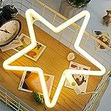 ENUOLI STAR NEON LIGHT SIEMPRE LED Forma de la estrella de la estrella Luz de la luz de la pared de la luz de la pared Operado por USB/Batería con luz de neón blanco caliente para la fiesta de cump