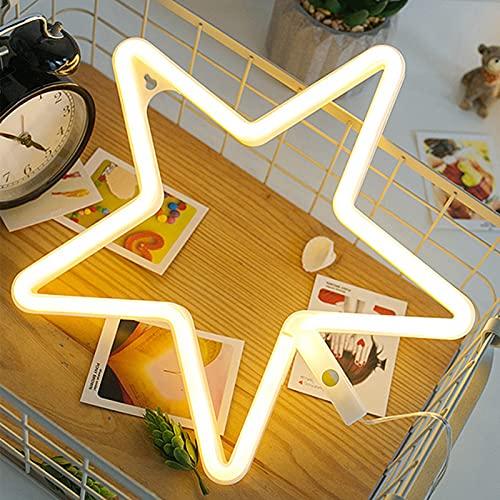 ENUOLI STAR STAR NEON Light Sign Led Stella a forma di notte luce della parete della parete della parete azionata da USB/batteria con caldo bianco luce al neon per la festa di compleanno di Natale