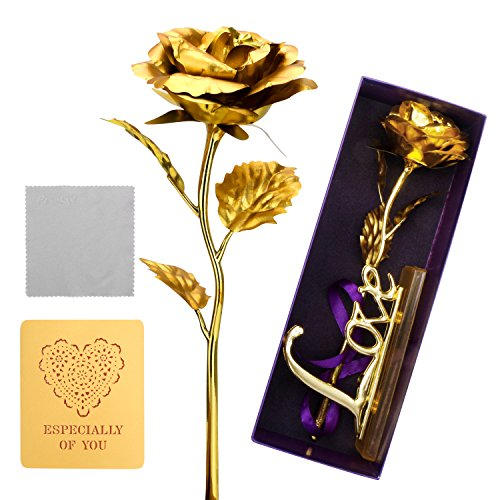 ProCIV Foil Rose Full Blossom Budding Gold Plated Rose Presents for Birthday(with card & dust-proof cloth), Gift for Girlfriend, Party, Wedding, Mother's Day, Romantic Gift for Her in Gift Box(Gold)