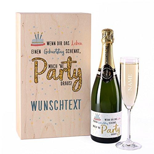 Herz & Heim® Champagner Geschenkset Grand Plaisir Tradition Réserve mit graviertem Sektglas in edler Holzverpackung