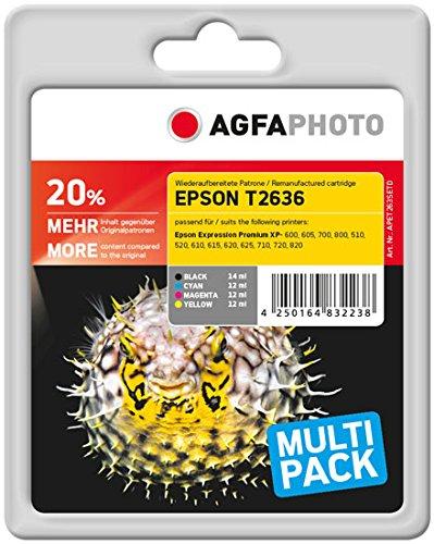 AgfaPhoto APET263SETD Eps XP600 Tintenpatrone, 1x 500 Seiten schwarz und 3x 700 Seiten color