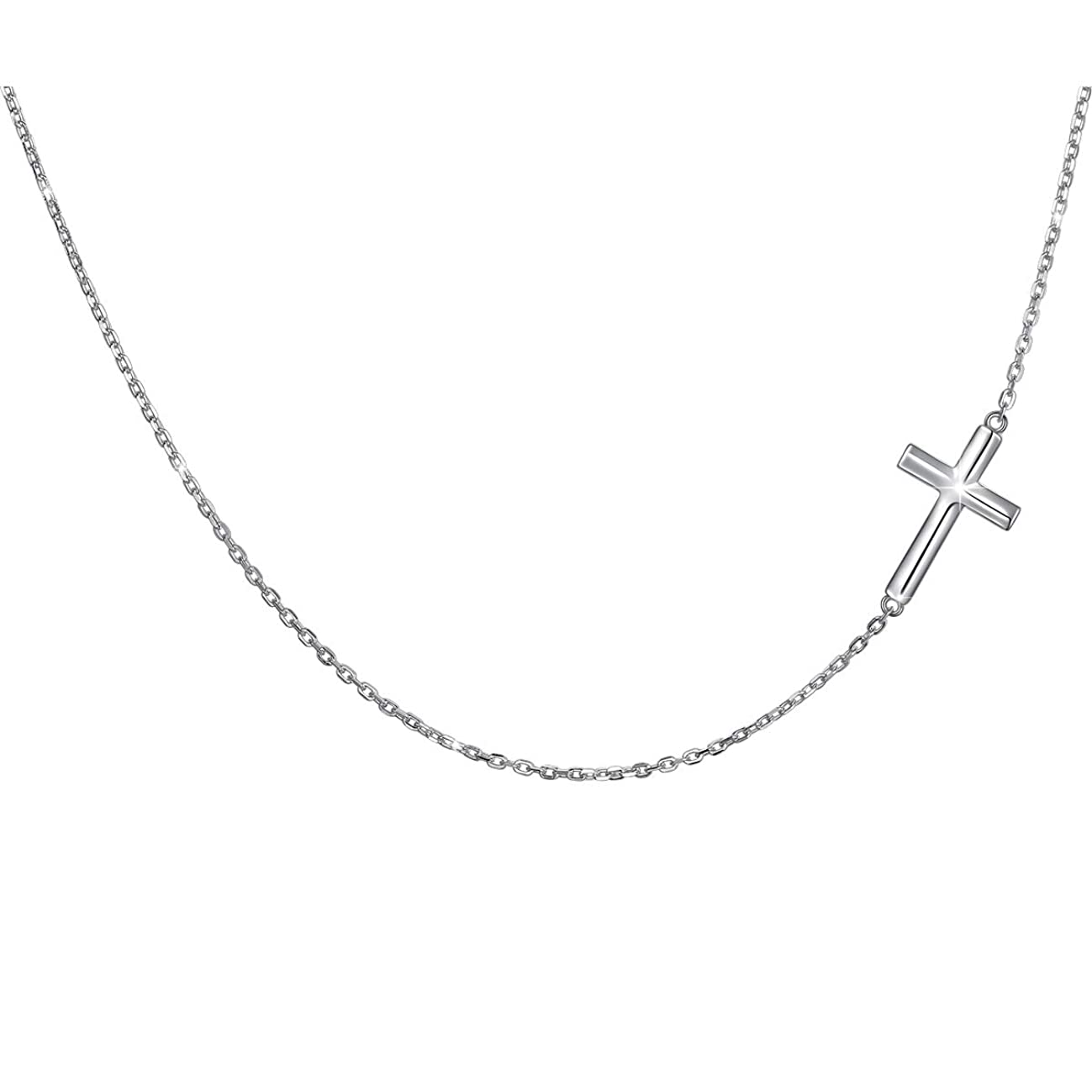 S925 Sterling Silver Jewelry Sideways Cross Choker Necklace 14 inches to 18 inches