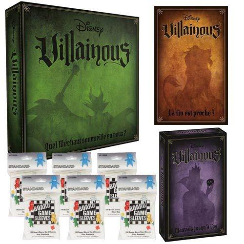 Disney Villainous Base und 2 Erweiterungen mit Kartenschutz, französische Version