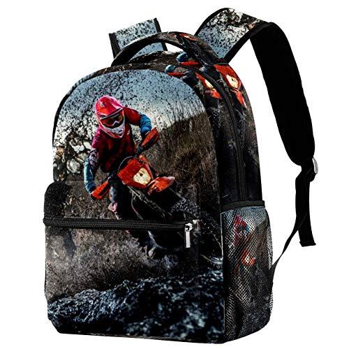 Rucksack Jungen Moto-Cross Schulrucksack Mädchen Teenager Jugendliche Wasserdicht Schule Daypacks Kinder Schultasche Schulranzen 29.4x20x40cm