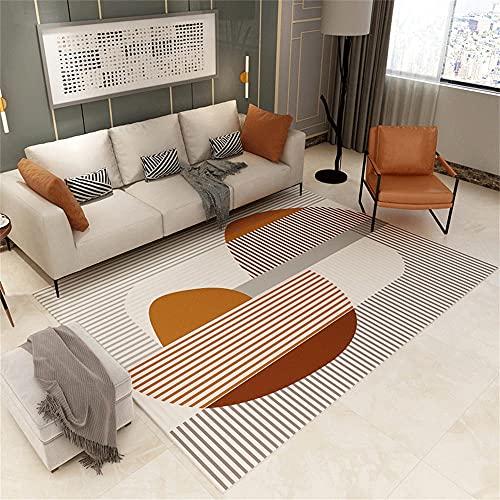 con Calidez Alfombra Escritorio Patrón de Rayas Beige Naranja Gris marrón alfombras Pelo Corto Salon 140X200cm