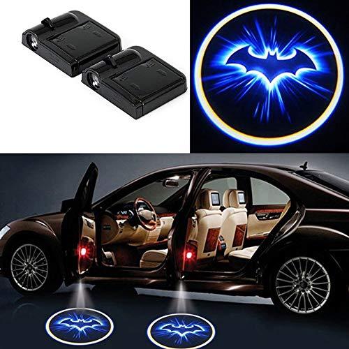 2Pcs for Car Door Logo Projector Lights, Led Welcome Laser Door Lights Logo, Wireless Type Projector Car Door Lights for All Models, No Wiring, No Punching (for BAT-BLUE)