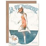 Artery8 La Vie Parisienne Woman Posing as Ibis Magazine Cover Sealed Greeting Card Plus Envelope Blank Inside París Mujer Portada de la Revista Cubrir