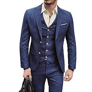 LIRENSIGE スリーピース スーツ メンズ 紳士服 コート ベスト パンツ 3点セット セットアップ オシャレ スタイリッシュスーツ ヨーロピアン風 ビジネス フォーマル パーティー 面接 通勤 結婚式 パーティー 春 夏 秋 冬 上下セット (Xxl,ブルー)