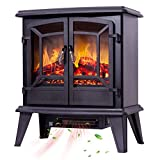 Un calentadorUn ventilador de calefacción 2 puertas portátil chimenea eléctrica chimenea eléctrica con fuego de leña realista efecto de la llama termostato regulable sobrecalentamiento negro protecció