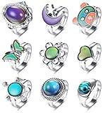 Milacolato 9Pcs Mood Ring for Women Set di Anelli di Cambio Colore Regolabili per Donna Anello di Controllo della Temperatura per Donna