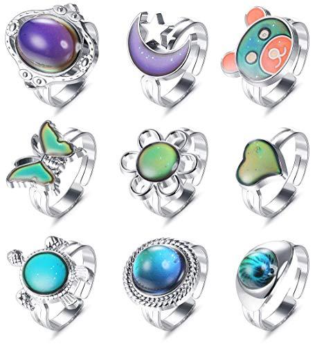 MILACOLATO 9Pcs Mood Ring para Mujeres Tamaño Ajustable Anillo de Cambio de Color Set para Mujeres Control de Temperatura Anillos de Color