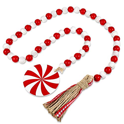 Christmas Wooden Bead Wreath with Tassels, Decorated with Candy Pendant, Wood Bead Garland Wreath for Christmas Decorations, Farmhouse Wall Hanging Ornaments