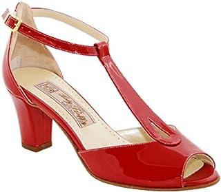 Lady Raffy Sandalo in Vernice Rosso Fuoco