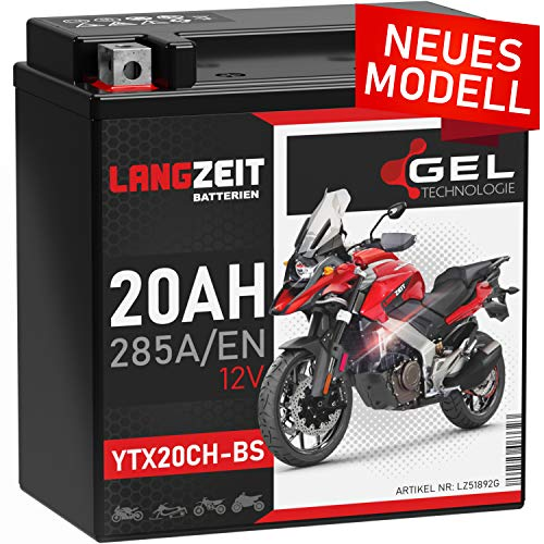 LANGZEIT YTX20CH-BS GEL Motorradbatterie 12V 20Ah 285A/EN GEL Batterie 12V 51892 doppelte Lebensdauer vorgeladen auslaufsicher wartungsfrei