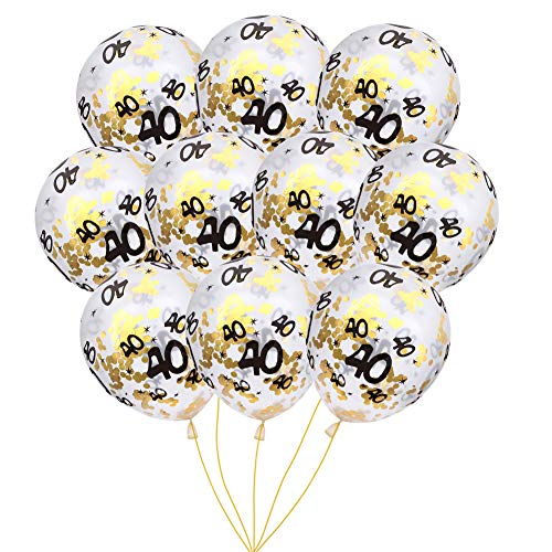 MeySimoon 40th Birthday Decorations 15pcs Clear Balloons with Gold Confetti Filled Printed 40 Latex Balloon for Happy 40 Year Old Birthday Party Favor (40th Confetti)