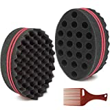 HALLO Big Holes Hair Twist Sponge Magic Barber Dreads Locking Twist Afro Curl Wave Sponge Hair Brush Sponge(2 Packs)
