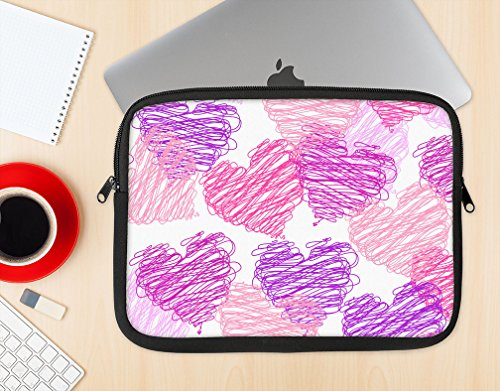 The Loopy Pink and Purple Hearts Stylish Soft Case Protective Laptop Sleeve 15-15.3 Inch MacBook Air Case MacBook Pro Sleeve Laptop Bag