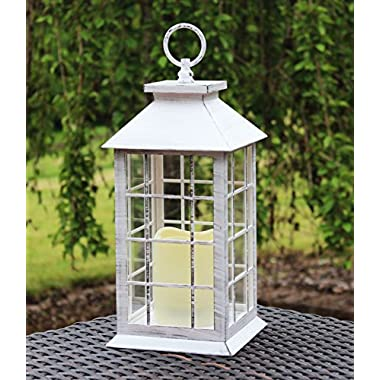 13  Country Style White Rustic Lantern with Flickering Flameless LED Candle and 4 Hour Timer