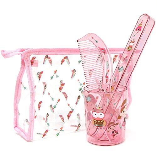 com-four® 4-teiliges Reiseset für Kinder mit Transporttasche, Zahnputzbecher, Zahnbürstenetui und Kamm mit Indianer-Motiv für Mädchen (Indianer mit Tasche pink - 04-teilig)