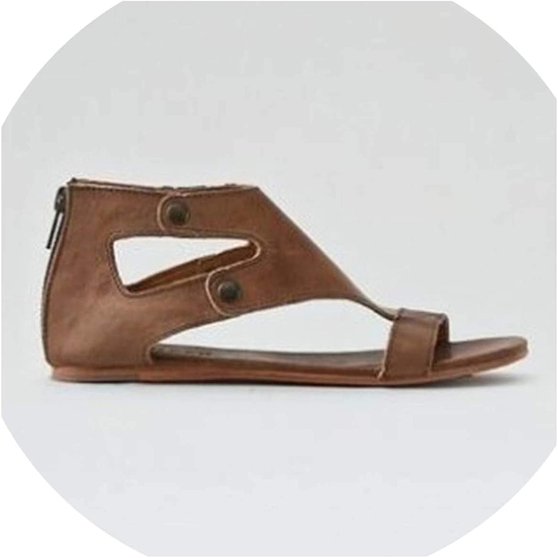HuangKang Fashion Sandals Women Genuine Leather Sandals Plus Size 34-43 Gladiator 2019 Beach shoes Women
