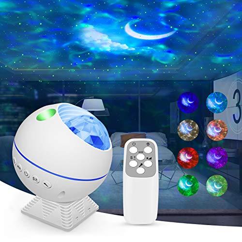 PANACARE 3 in 1 Sternenhimmel Projektor, 360 ° Drehbarer LED Galaxy Projektor mit Fernbedienung/44 Beleuchtungsmodi /Voice Control/Helligkeit anpassen, Mini Nachtlicht für Kinder Party Geschenk