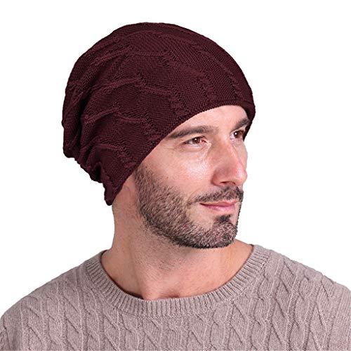 Nyuiuo Männer solide Indien Stretch Turban Hut Wolle Stricken Haarausfall Kopftuch Wrap Hut breitrandiger Hut Foto Hut Mode Hut Zufällige Hüte Hut gegen Sonne im Sommerhut Flat Hat