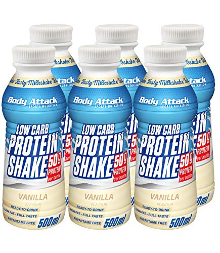 Body Attack Low Carb Protein Shake, 6er Pack (6x 500 ml) (Vanille)