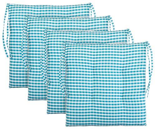 BRANDSSELLER Cojín de asiento para silla a cuadros, cojín para el jardín, 40 x 40 cm, color antracita, gris claro, marrón, beige (paquete de 4 unidades), color azul claro