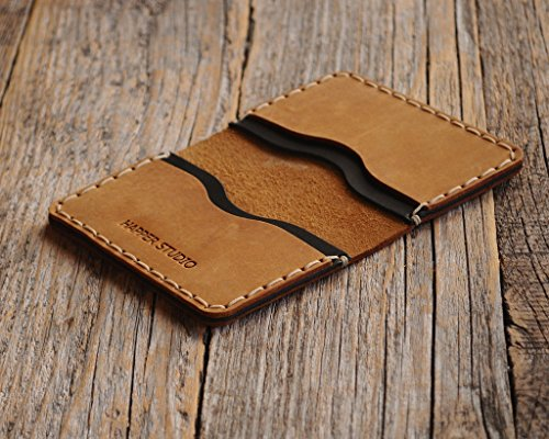 Marrón y negro cartera de piel. Apta para tarjeta de crédito, efectivo o carnet de identidad. Bolsa rústica unisex.