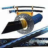 YJ COOL Dragon Tsuba & Sheath Japanese Samurai Katana Noble Blue Sword Carbon Steel Fully Functional Full Tang Battle Ready