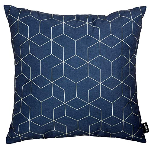 Cushoo Large Geometric Cushion Cover in Navy Blue |XL Square Decorative Scatter Pillow Case for Sofa | 55cm x 55cm | 22in x 22in