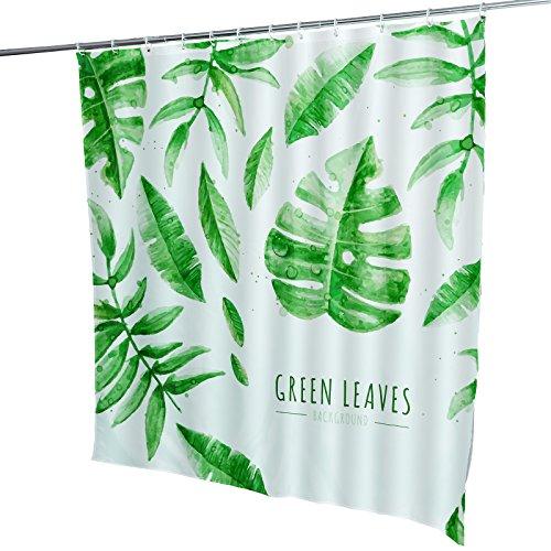 Duschvorhang Badvorhang Badewanne Wannenvorhang Wasserwürfel Badezimmer 180x180cm grüne Blätter inkl. 12 Ringe