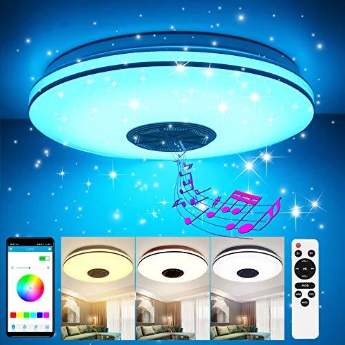 GGHKDD - Lámpara LED de techo (regulable, 36 W, 2 alambres plateados, aplicación con mando a distancia, altavoz Bluetooth, 35 cm)