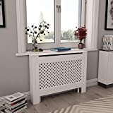 vidaXL White Radiator Cover, Heating Cover Cabinet MDF,Freestanding,Preservative,Decorative Radiator Cover Display Stand Plant Flower Pot,Heating Cabinet 44.1'x7.5'x32.1'