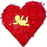 Valentine Heart Shaped Pinata Gold Foil Cupid for Anniversaries Centerpieces Decoration and Party Favor Unique Red Color Piñata