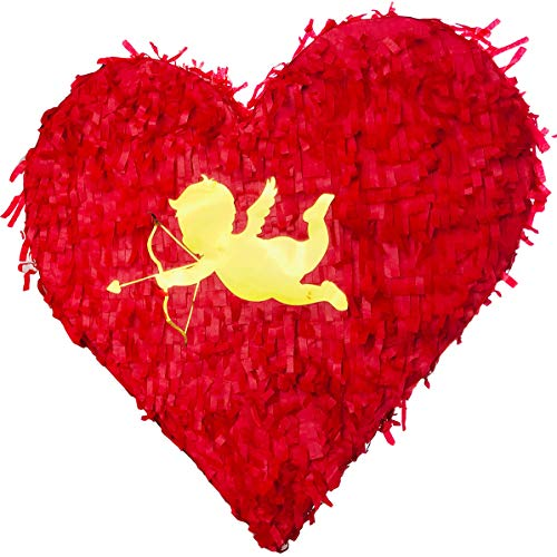 Valentine Heart Shaped Pinata Gold Foil Cupid for Anniversaries Centerpieces Decoration and Party Favor Unique Red Color Piñata