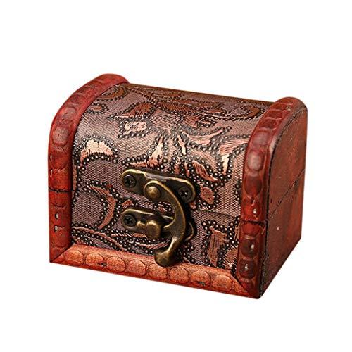 ZYG Jewelry Box Vintage Wood Handmade Box with Mini Metal Lock for Storing