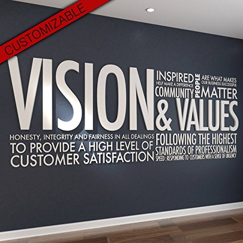 HomeArtDecor   Vision & Values Wanddeko Büro 3D   Geeignet für Wand Büro und Haus   Hohe Qualität   Büro Dekoration   Dekoration   Einfach anzuwenden   Laubsägearbeit   Gitter