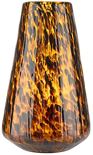 Large Handmade & Mouthblown Brown & Black Glass Decorative Flower Vase for Home Decor – Centrepiece or Floor – 14 inch/35.5cm Tall – Living Room, Dining Table, Statement, Hallway, Office, Decoration.
