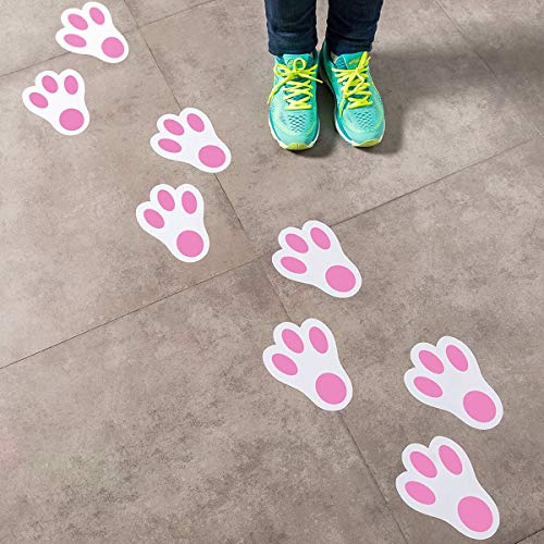 Easter Stickers for Kids Easter Bunny Paw Print Floor Decals Stickers for Easter Party Decoration Easter Egg Hunt