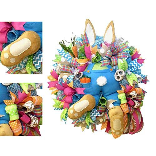 XUNTUO Easter Rabbit Wreath - Handmade Pendant Wreath,Easter Decor Home Hanging Ornaments 40 * 50CM/2PCS