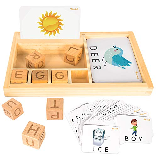 YO!Wow Matching Letter Flash Cards - Educational Toys ABC Wooden Letters Spelling Learning Games Develops Alphabet Words Preschool Puzzles Games for 3 Year Olds Toddlers (Style 2)