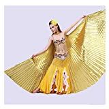 QXLhxuIo Alas de ángel Egipcio para Danza del Vientre con Varillas Ajustables Accesorios, Navidad Material de claqué de Luz 360 Grados Different 4*Colores (Oro)