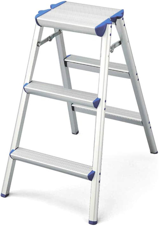 TLTLTD Step Stool, Aluminum Household Ladder Thickening Herringbone Wide Pedal Anti-skid Step Stool (Size   3 step ladder)