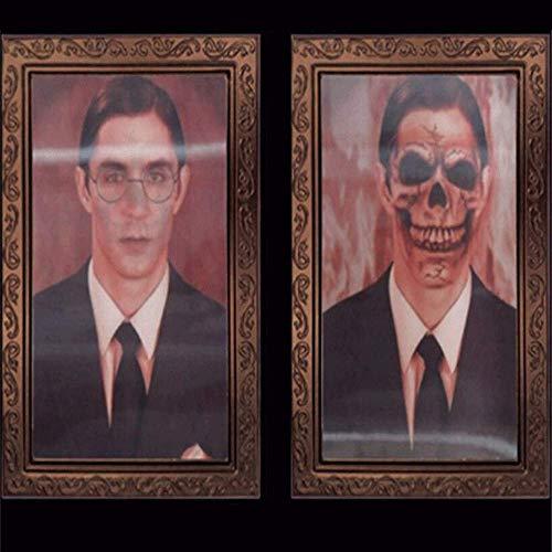 BOLLAER 3D Halloween Wechsel-Bilderrahmen, Halloween Dekoration 3D Wechselnde Gesicht Bewegliche Bilderrahmen Portrait Horror Geist Rahmen Party Lenticular für Bühnen-Dekoration Requisiten Horror (2)